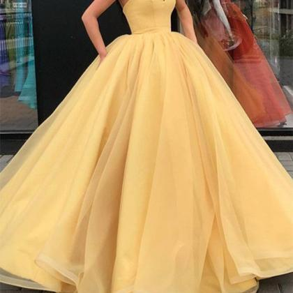 Pd81037 Yellow Prom Dress,Tulle Eve..