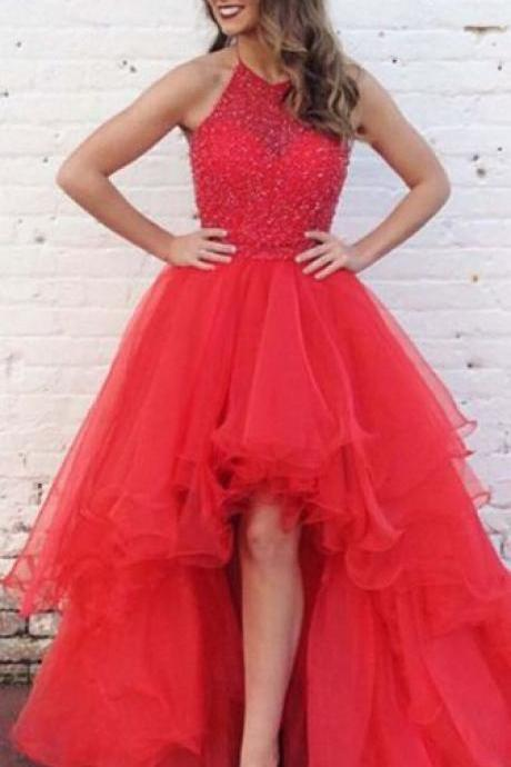 Pd70911 Charming Prom Dress,Beading Prom Dress, HIgh/Low Prom Dress,Halter Evening Dress