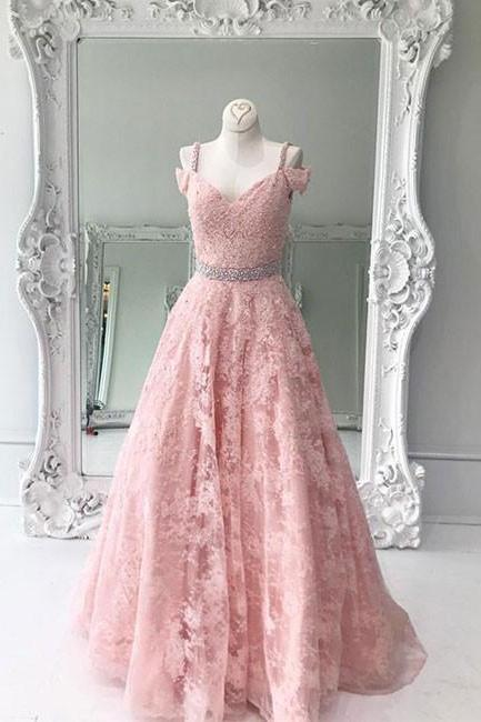 Pd70913 Charming Prom Dress,Lace Prom Dress, A-lIne Dress,V-Neck Evening Dress
