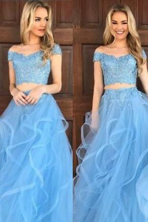 Pd71208 Charming Prom Dress,Two Pieces Prom Dresses, Tulle Prom Dresses, Off the Shoulder Evening Dress