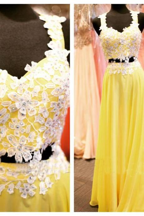 Pd80110 Charming Prom Dress,Chiffon Prom Dresses,Appliques Prom Dresses,Two Pieces Evening Dress