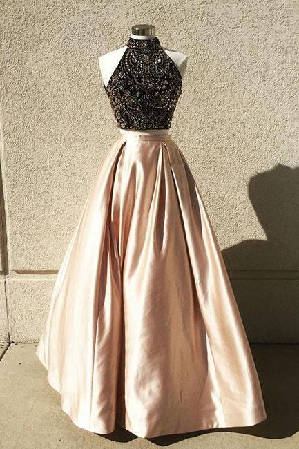 Pd801157 Charming Prom Dress,Two Pieces Prom Dresses,Beading Prom Dresses,Satin Evening Dress