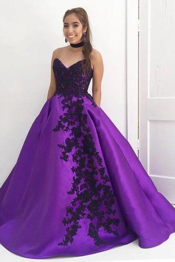 Pd80204 Charming Prom Dress,Satin Evening Dresses,Appliques Prom Dresses,Sweetheart Prom Gown