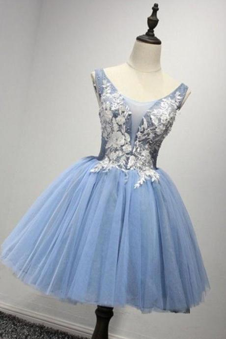 Hd80801 Blue Homecoming Dress,Appliques Graduation Dress,Ball Gown Homecoming Dress,Tulle Graduation Dress