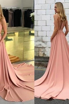 Pd80805 Charming Prom Dress,Satin Evening Dresses,A-Line Prom Dresses,Backless Prom Gown