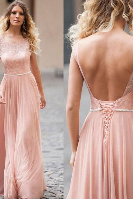 Pd80902 Charming Prom Dress,Chiffon Evening Dresses,Backless Prom Dresses,Lace-Up Prom Gown