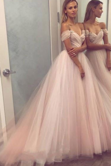 Pd81005 Charming Prom Dress,Off the Shoulder Evening Dresses,Tulle Prom Dresses,Beading Prom Gown