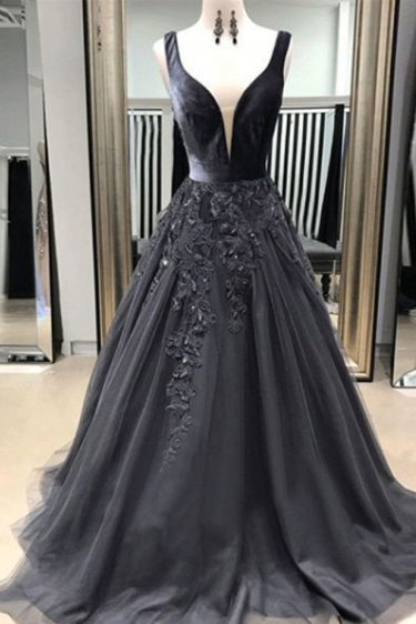 Pd81018 Charming Prom Dress,Satin Evening Dresses,A-Line Prom Dresses,Appliques Prom Gown
