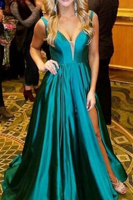 Pd81020 Charming Prom Dress,Satin Evening Dresses,A-Line Prom Dresses,V-Neck Prom Gown