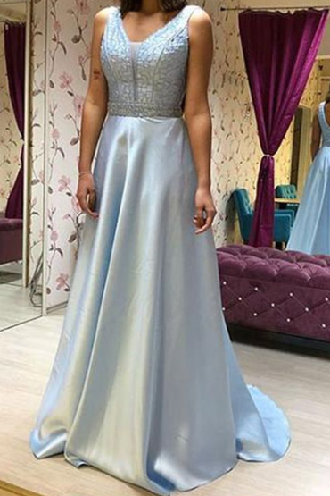 Pd81029 Blue Prom Dress,Satin Evening Dresses,A-Line Prom Dresses,Beading Prom Gown