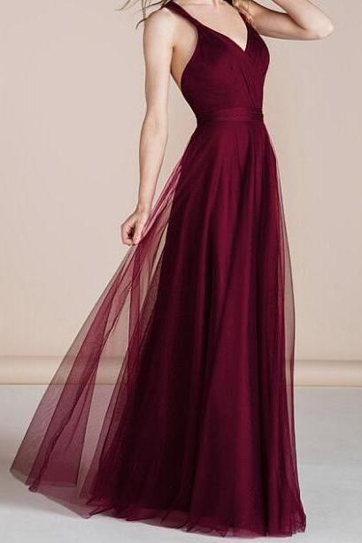 Pd81036 Burgundy Prom Dress,Tulle Evening Dresses,A-Line Prom Dresses,V-Neck Prom Gown
