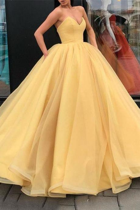 Pd81037 Yellow Prom Dress,Tulle Evening Dresses,Ball Gown Prom Dresses,Sweetheart Prom Gown