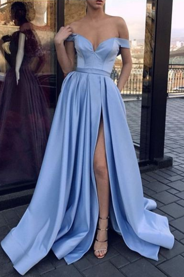 Pd81043 Blue Prom Dress,Satin Evening Dresses,A-Line Prom Dresses,Off the Shoulder Prom Gown