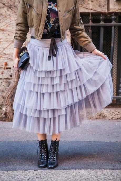 Pd81225 New Arrival Skirt, Street Style Skirt,Tulle Skirt,Fashion Women Skirt,Spring Autumn Skirt ,Mid-Length Skirt