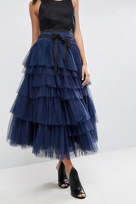 Pd81227 New Arrival Skirt, Street Style Skirt,Tulle Skirt,Fashion Women Skirt,Spring Autumn Skirt ,Ankle-Length Skirt