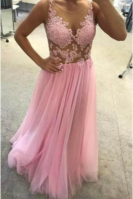 Pd90119 Pink Prom Dress,Tulle Evening Dresses,A-Line Prom Dresses,Applqiues Prom Gown