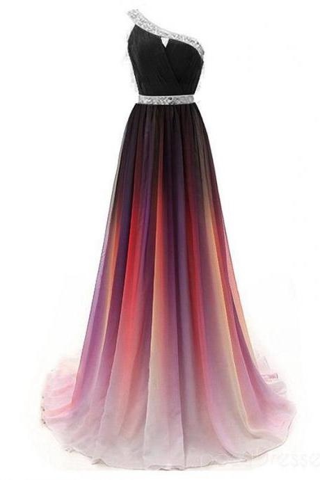 Pd90306 Charming Prom Dress,Chiffon Evening Dresses,Gradient Prom Dresses,One-Shoulder Prom Gown
