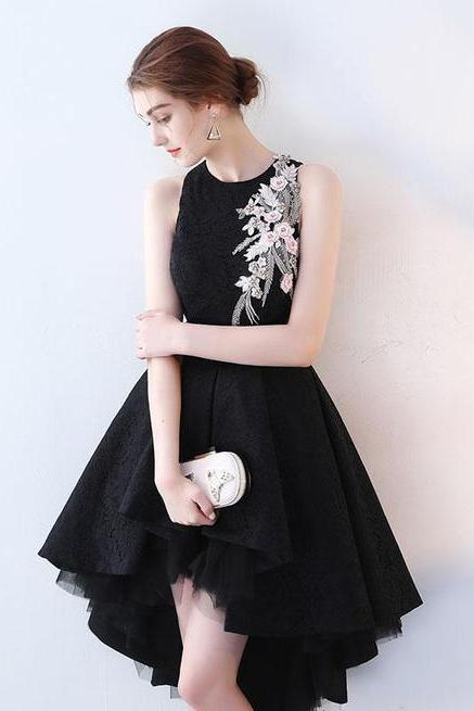 Pd90318 Black Prom Dress,Tulle Evening Dresses,O-Neck Prom Dresses,High/Low Prom Gown