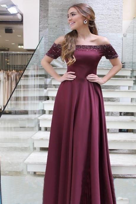 Pd90403 Burgundy Prom Dress,Satin Evening Dresses,Off the Shoulder Prom Dresses,A-Line Prom Gown