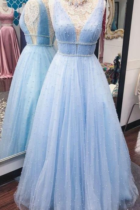 Pd90414 Light Blue Prom Dress,Tulle Evening Dresses,Beading Prom Dresses,V-Neck Prom Gown
