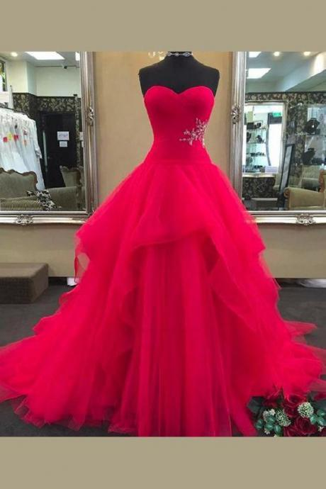 Pd90416 Red Prom Dress,Tulle Evening Dresses,Ball Gown Prom Dresses,Sweetheart Prom Gown