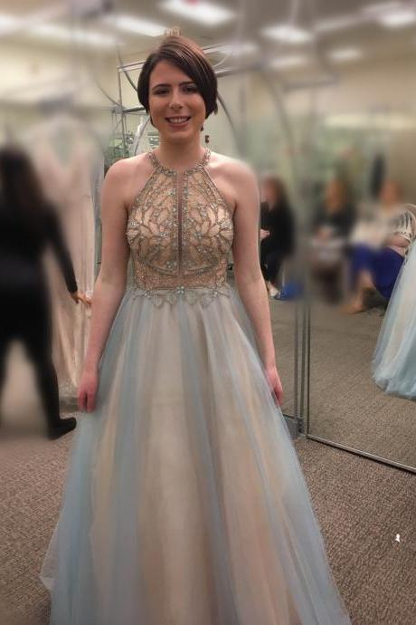Pd90421 Charming Prom Dress,Halter Evening Dresses,Tulle Prom Dresses,Beading Prom Gown
