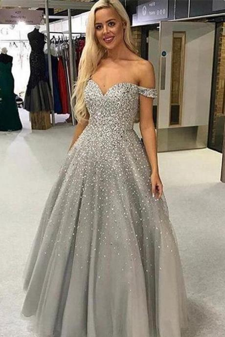 Pd90805 Gray Prom Dress,Tulle Evening Dresses,Off the Shoulder Prom Dresses,Beading Prom Gown