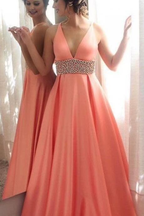 Pd908010 Orange Prom Dress,A-Line Evening Dresses,V-Neck Prom Dresses,Beading Prom Gown