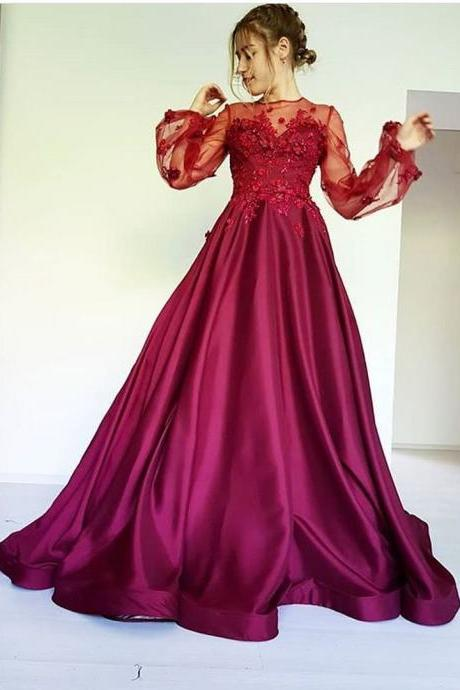 Pd90904 Burgundy Prom Dress,A-Line Evening Dresses,Appliques Prom Dresses,Long-Sleeves Prom Gown