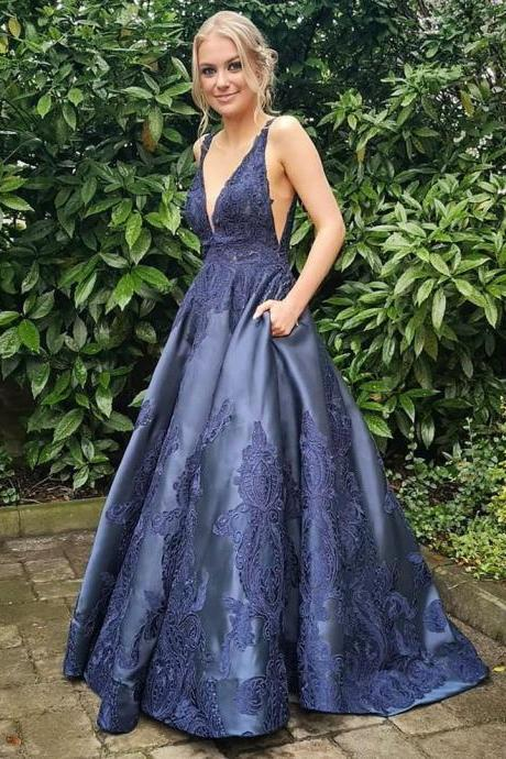 Pd90921 Navy Prom Dress,Satin Wedding Dresses,V-Neck Prom Dresses,Appliques Prom Gown
