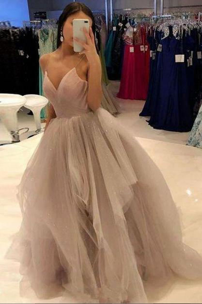 Pd90923 Charming Prom Dress,Tulle Wedding Dresses,V-Neck Prom Dresses,Spaghetti Straps Prom Gown