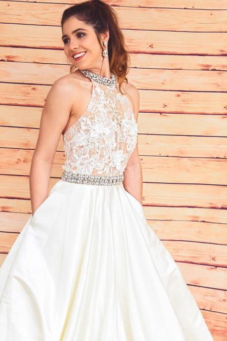 Pd90924 Champagne Prom Dress,Satin Wedding Dresses,Halter Prom Dresses,Beading Prom Gown