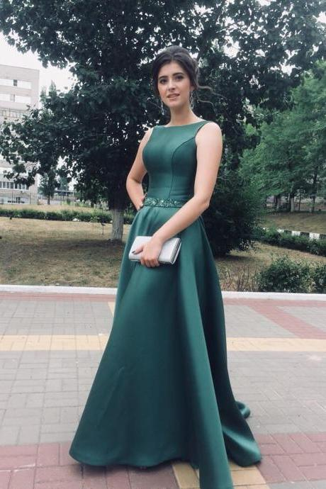 Pd90927 Dark Green Prom Dress,Satin Wedding Dresses,O-Neck Prom Dresses,Beading Prom Gown