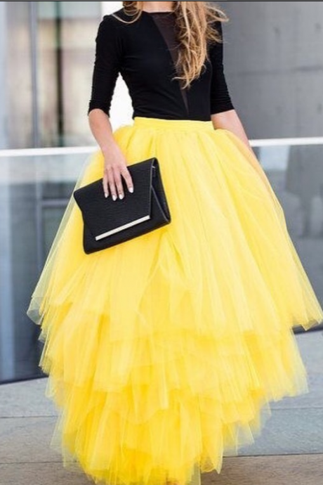 S-91003 Yellow Street Style Skirt,Tulle Skirt,Fashion Women Skirt,spring Autumn Skirt ,Custom Skirt