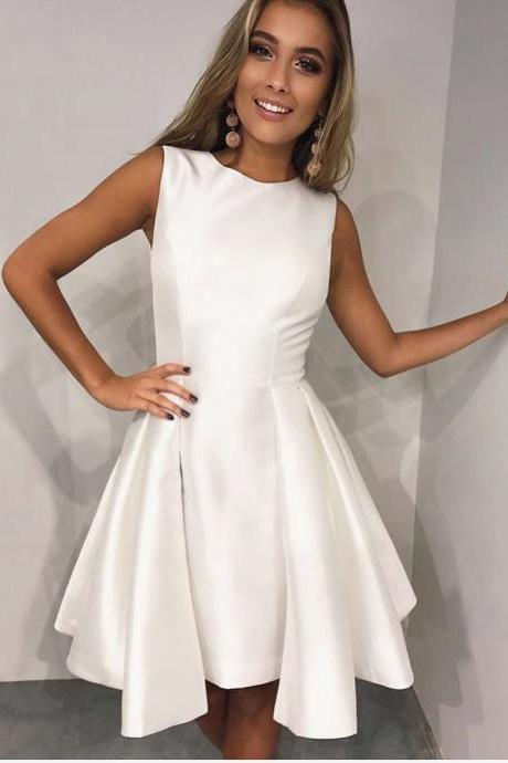 H91012 Cute Homecoming Dress,Satin Homecoming Dress,O-Neck Homecoming Dress,Brief Homecoming Dress