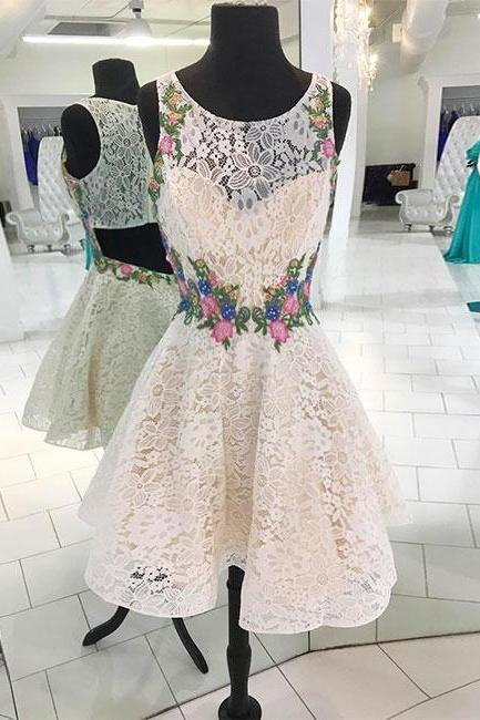 H910223 Cute Homecoming Dress,Lace Homecoming Dress,Appliques Homecoming Dress,O-Neck Homecoming Dress