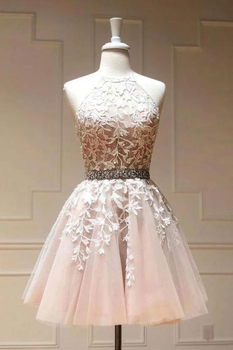 H910225 Cute Homecoming Dress,Tulle Homecoming Dress,Appliques Homecoming Dress,Halter Homecoming Dress