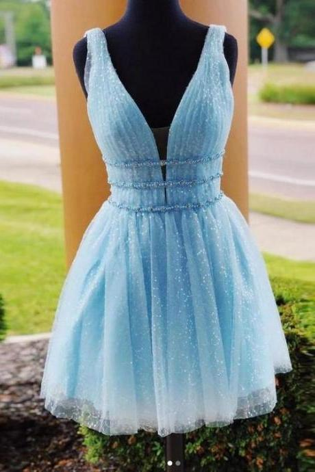 H91102 Cute Homecoming Dress,Tulle Homecoming Dress,V-Neck Homecoming Dress,Knee-Length Homecoming Dress
