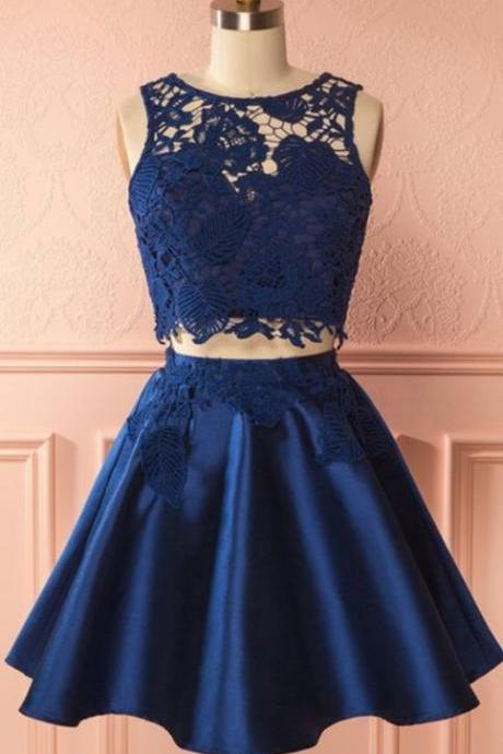 H91103 Navy Homecoming Dress,Two Pieces Homecoming Dress,O-Neck Homecoming Dress,Lace Homecoming Dress