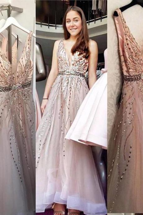 Pd91202 Charming Prom Dress,Tulle Wedding Dresses,Beading Prom Dresses,V-Neck Prom Gown