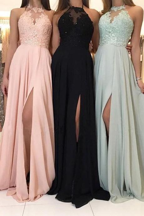 Pd91206 Charming Prom Dress,Chiffon Wedding Dresses,A-Line Prom Dresses,Halter Prom Gown