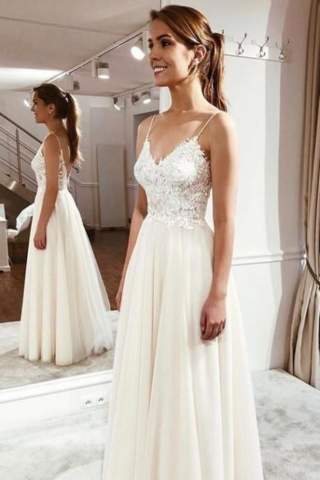 Pd91207 White Prom Dress,Tulle Wedding Dresses,A-Line Prom Dresses,Spaghetti Straps Prom Gown