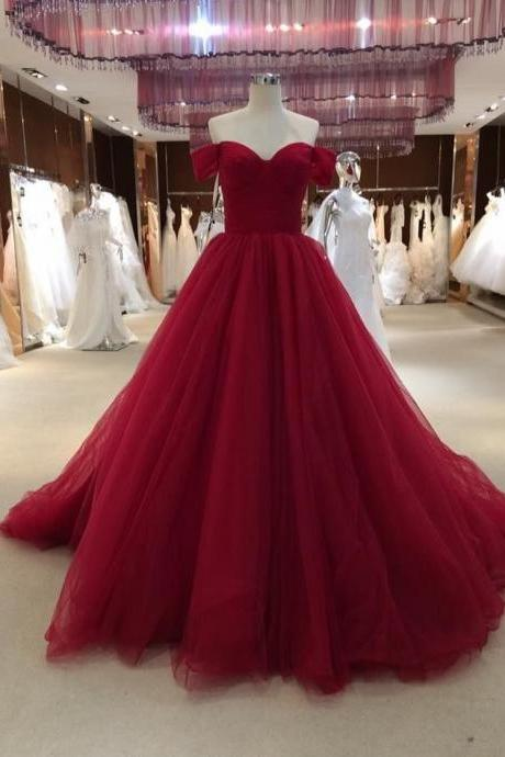 Pd91211 Red Prom Dress,Tulle Wedding Dresses,A-Line Prom Dresses,Off the Shoulder Prom Gown