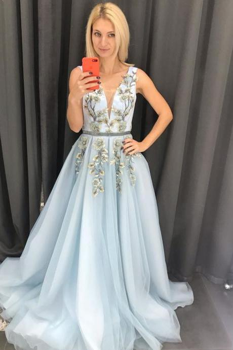 Pd91212 Blue Prom Dress,Tulle Wedding Dresses,A-Line Prom Dresses,Appliques Prom Gown