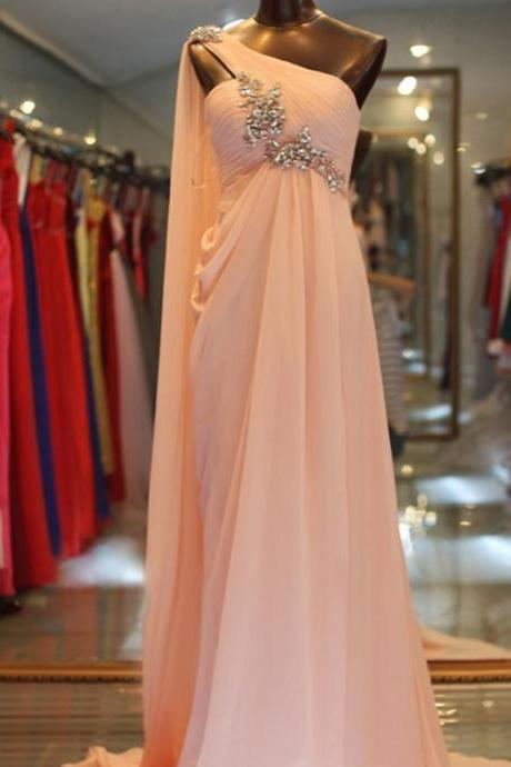 Pd91214 Pink Prom Dress,Chiffon Wedding Dresses,One-Shoulder Prom Dresses,Beading Prom Gown