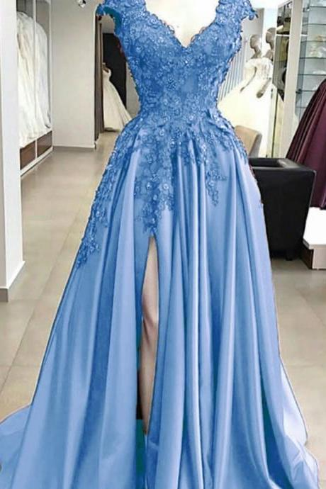 Pd91215 Blue Prom Dress,Satin Wedding Dresses,A-Line Prom Dresses,Appliques Prom Gown