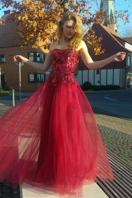 Pd91217 Red Prom Dress,Tulle Wedding Dresses,Appliques Prom Dresses,Strapless Prom Gown