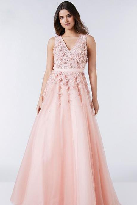 Pd91218 Pink Prom Dress,Tulle Wedding Dresses,Appliques Prom Dresses,V-Neck Prom Gown