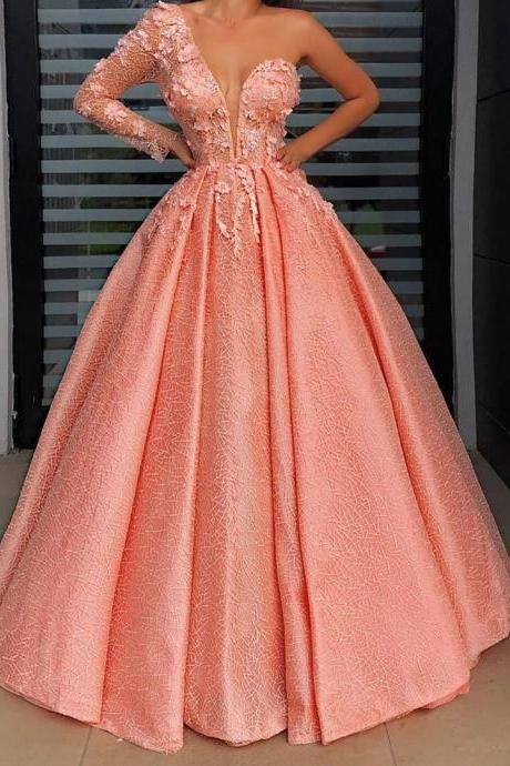 Pd91219 Orange Prom Dress,Lace Wedding Dresses,Satin Prom Dresses,One-Shoulder Prom Gown