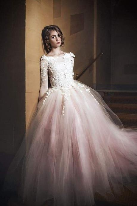 Pd912120 Charming Prom Dress,Tulle Wedding Dresses,Appliques Prom Dresses,Long-Sleeves Prom Gown